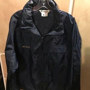 Columbia Mens Windbreaker Blue Hidden Zipper Hood